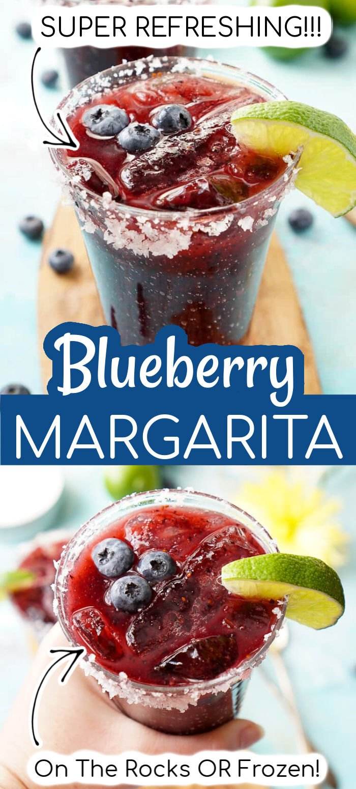 This Blueberry Margarita is made with ripe blueberries, lime juice, orange liqueur, and tequila for a fruity New England take on the classic cocktail! via @sugarandsoulco
