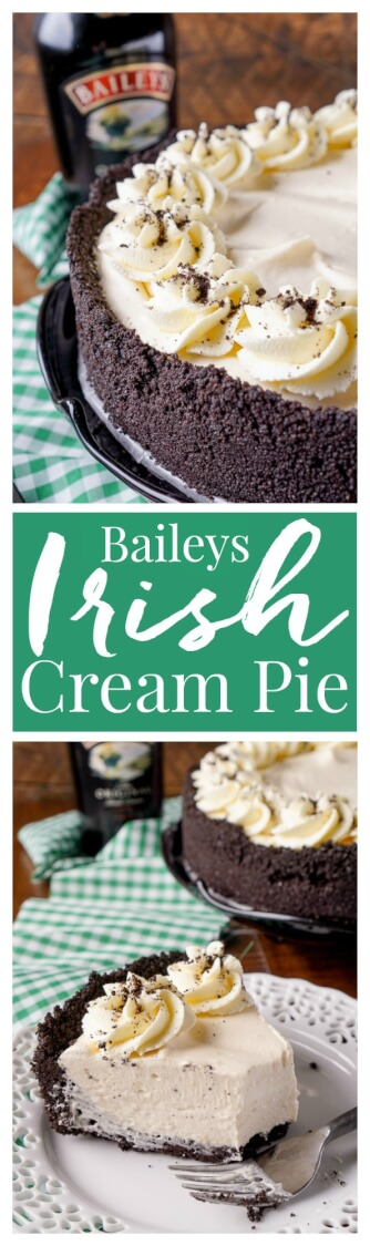 This Irish Cream Pie is an easy dessert laced with Baileys and perfect for St. Patrick's Day! A chocolate cookie crust filled with a cream marshmallow and Irish Cream filling and topped with vanilla whipped cream! via @sugarandsoulco