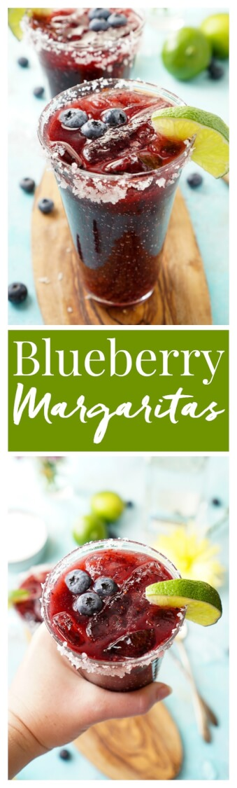 This Fresh Blueberry Margarita is made with ripe blueberries and Altos Tequila for a New England take on the classic cocktail! via @sugarandsoulco