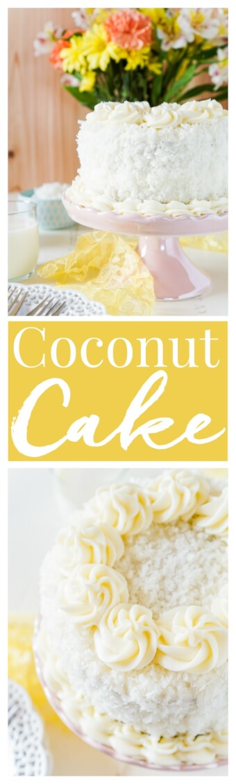 This Classic Coconut Cake is the perfect Easter dessert! Light and fluffy with a cream cheese frosting laced with the essence of sweet coconut! via @sugarandsoulco