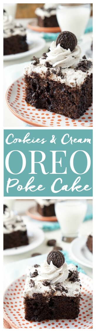 This Easy Oreo Poke Cake is so simple to make! A rich chocolate cake loaded with Oreo pieces and drenched in chocolate syrup with a cookies and cream frosting! via @sugarandsoulco