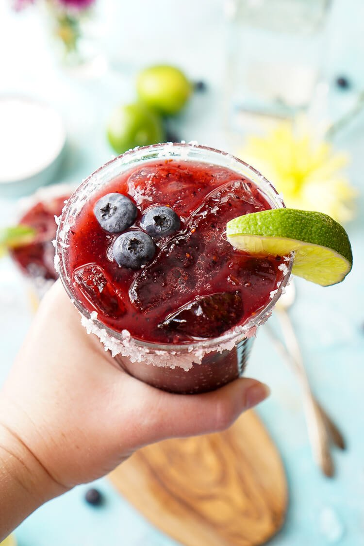 This Fresh Blueberry Margarita is made with ripe blueberries and Altos Tequila for a New England take on the classic cocktail!