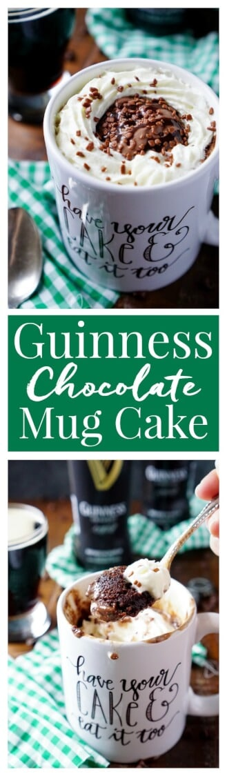 This Guinness Chocolate Mug Cake is ready in just 5 minutes and great for those nights when you want a little something sweet, fast!