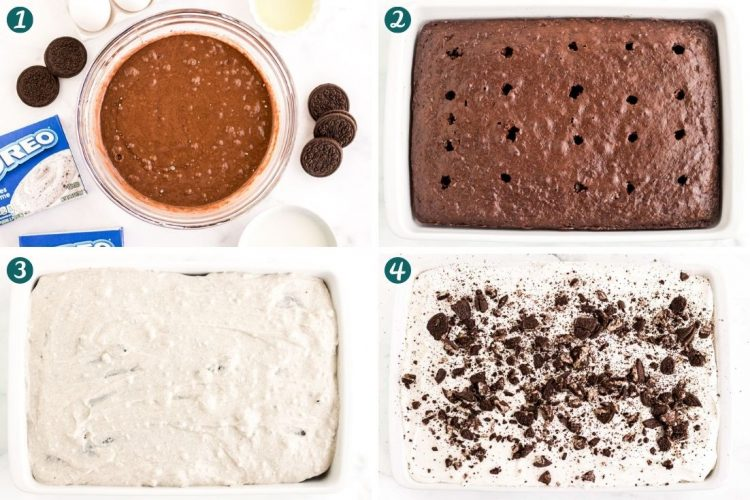 Step by step photo collage showing how to make oreo poke cake.