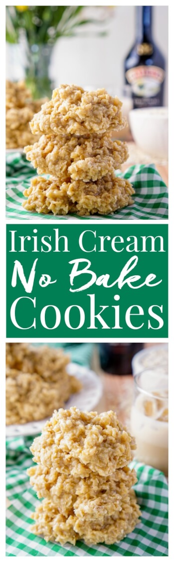 These Irish Cream No Bake Cookies are a boozy twist on the classic cookie recipe! Irish cream combined with sugar, butter, and oatmeal for a richly sweet treat that's perfect for St. Patrick's Day! via @sugarandsoulco
