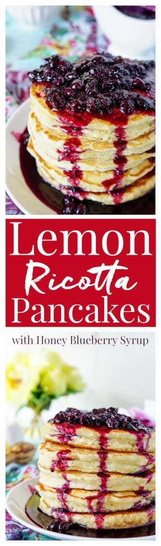 These Lemon Ricotta Pancakes are fluffy and laced with zest, then topped with a homemade Blueberry Honey Syrup for a sweet finish! via @sugarandsoulco