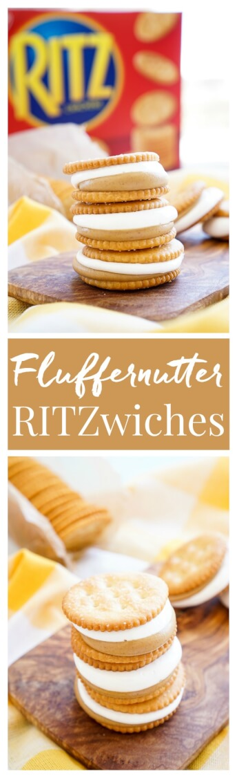 These Fluffernutter RITZwiches are a fun mix of two childhood classics! Who doesn't love peanut butter and marshmallow fluff sandwiched between two buttery RITZ crackers! It's the ultimate easy snack that's ready in just a 5 minutes! You can trade out the peanut butter for cookie butter or sun butter too! via @sugarandsoulco