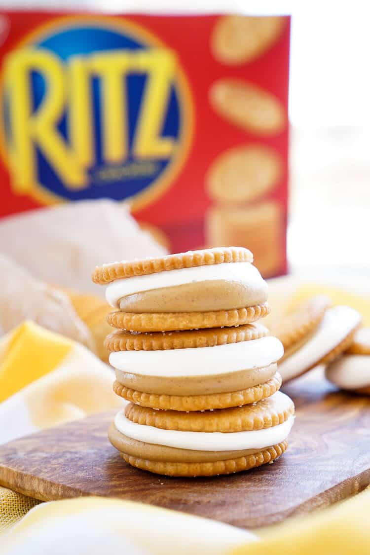 These Fluffernutter RITZwiches are a fun mix of two childhood classics! Who doesn't love peanut butter and marshmallow fluff sandwiched between two buttery RITZ crackers! It's the ultimate easy snack that's ready in just a 5 minutes! You can trade out the peanut butter for cookie butter or sun butter too!