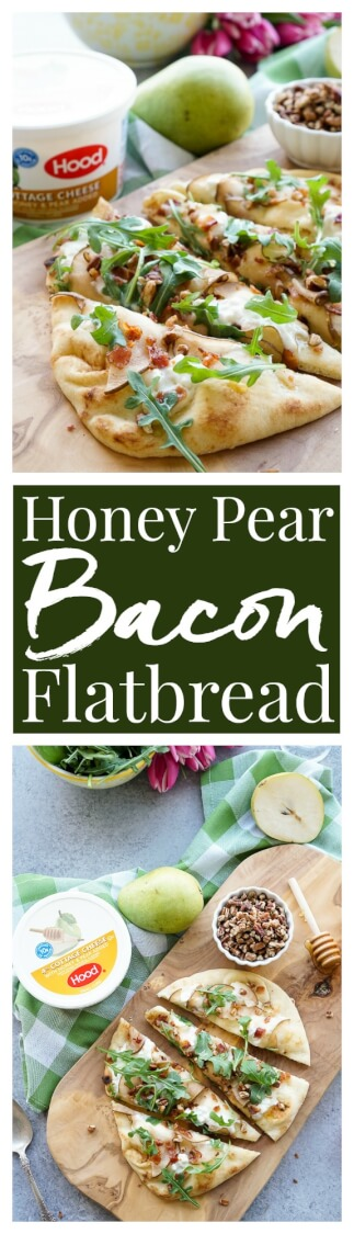 This Honey Pear Pecan Bacon Flatbread is the perfect light lunch, snack, or appetizer and just the slightest bit sweet! via @sugarandsoulco