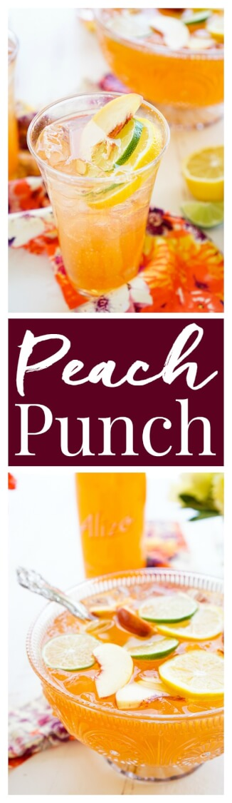 This Spiked Peach Punch is the perfect big batch cocktail for summer! Smooth Alizé Peach vodka blends with white rum, lime juice, and ginger ale for a refreshing and vibrant warm weather beverage! via @sugarandsoulco