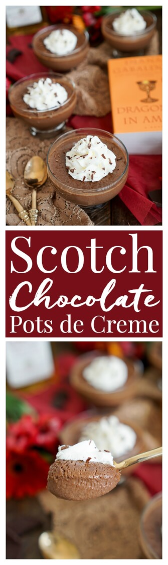 These Scotch and Chocolate Pots de Creme are a rich and creamy French dessert with a touch of Scotland inspired by the Outlander Series! via @sugarandsoulco