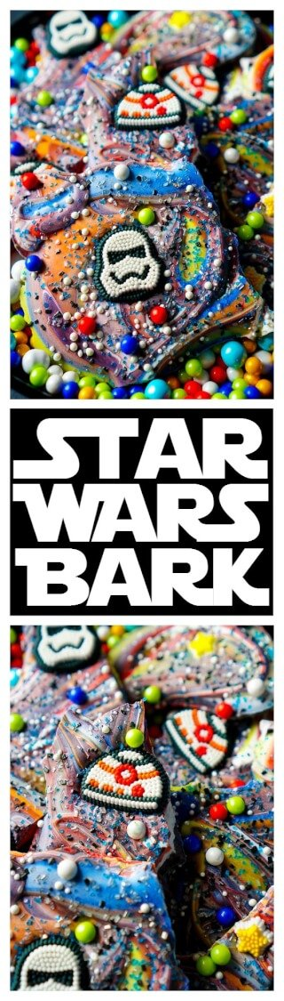 This Star Wars Bark is a simple and fun treat the kids will LOVE making! An easy no bake candy recipe that's perfect for birthday parties and movie nights! via @sugarandsoulco