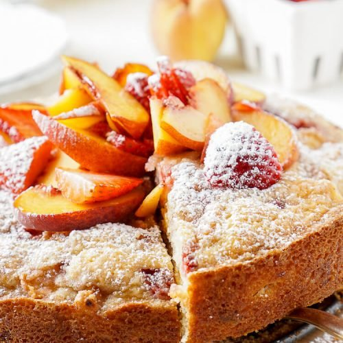 Strawberry & Peach Coffee Cake