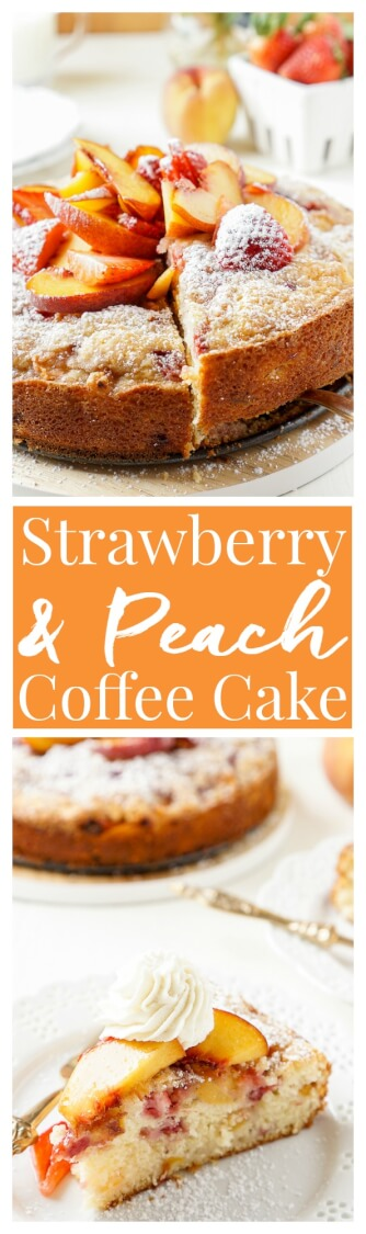 This Strawberry & Peach Coffee Cake is a mix of ripe fruit and sweet cake that's sure to add a pop of flavor to the breakfast table!   via @sugarandsoulco