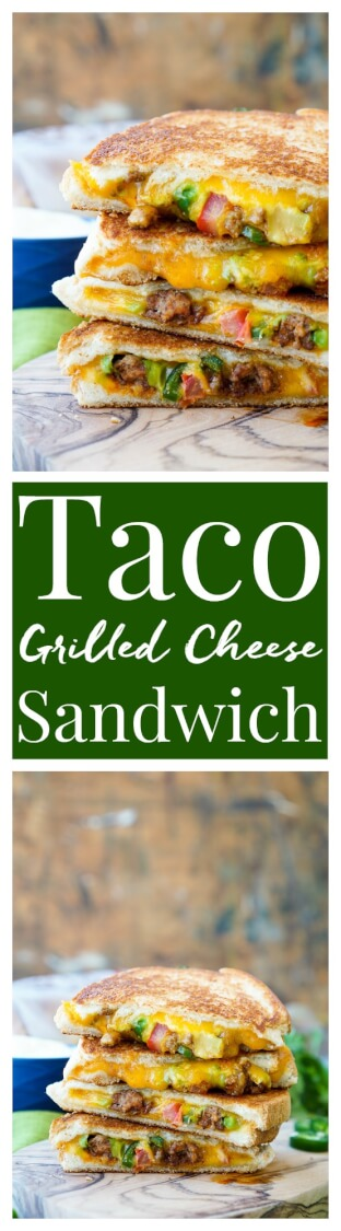 This Taco Grilled Cheese Sandwich can be customized just like a taco! The original recipe is packed with bold flavor and a little heat for a lunch or dinner that's sure to leave your mouth watering! via @sugarandsoulco