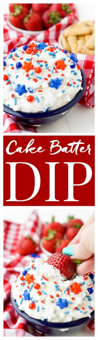 This Cake Batter Dip is made with just 4 ingredients and is ready in just 5 minutes! Change the sprinkles colors to customize it for any occasion like birthdays, graduations, the 4th of July! via @sugarandsoulco