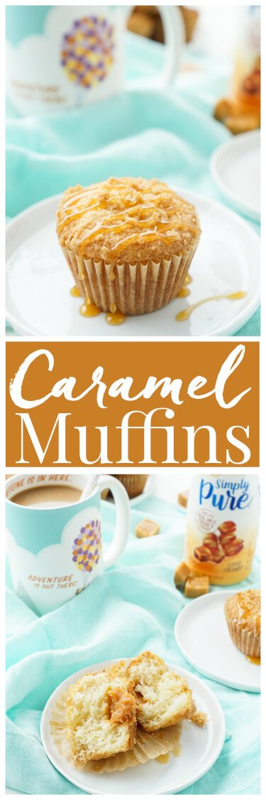 I loved these Caramel Muffins with my coffee this morning and they only took about 30 minutes to make! They're simply sweet with a gooey caramel center! via @sugarandsoulco