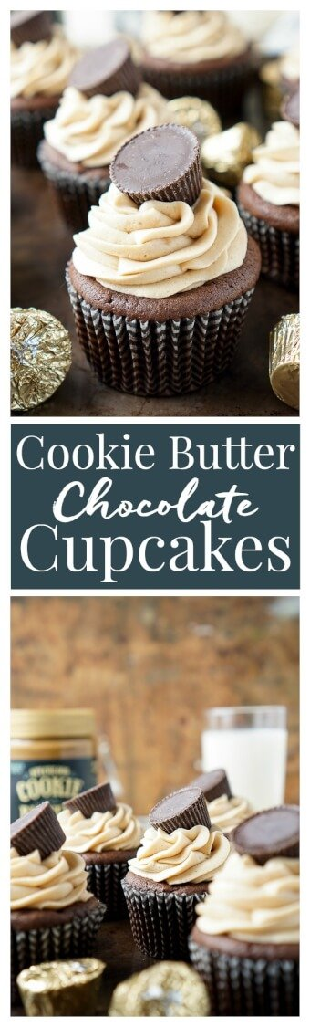 These Cookie Butter Chocolate Cupcakes are rich, sweet, and easy to make! An adapted cake box mix makes up the moist cupcakes and then they're topped with a silky smooth cookie butter frosting and a cookie butter cup! via @sugarandsoulco