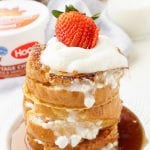 This Maple & Vanilla Stuffed French Toast is sweet and indulgent with a protein rich filling!