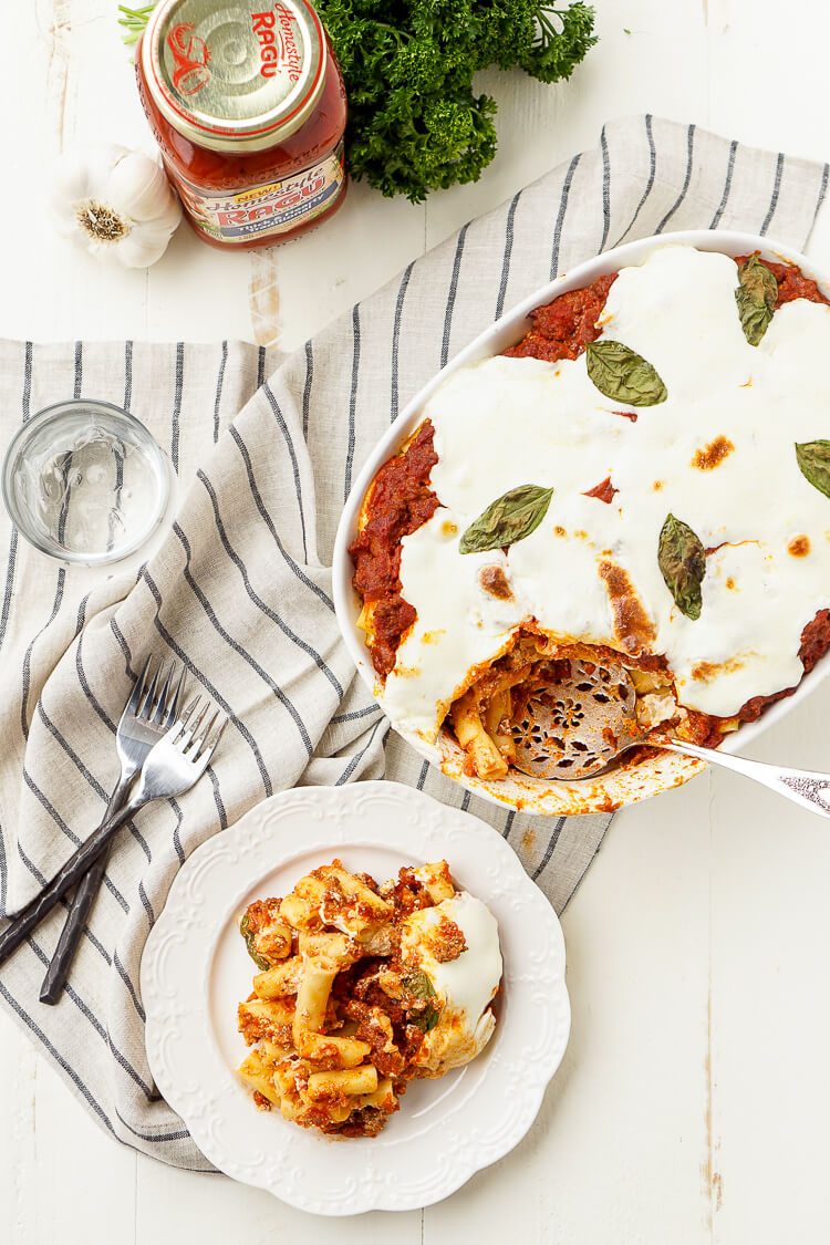 This Baked Ziti Recipe is a classic homestyle dish that's just waiting to be devoured!
