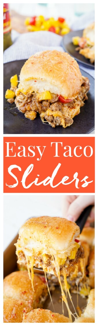 These Easy Taco Sliders are a great alternative to traditional tacos! They're simple to make and loaded with flavor, a sure crowd pleaser and a great use for leftover taco meat too!