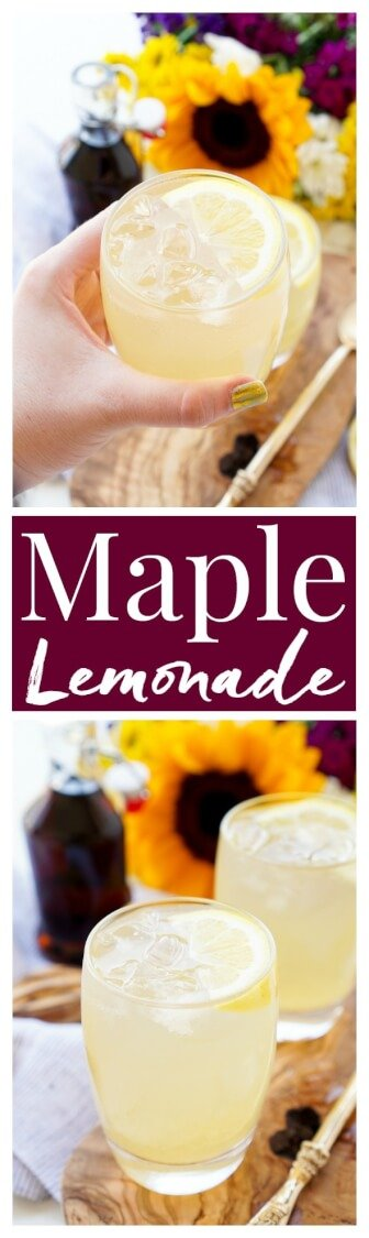 This Maple Lemonade is inspired by Maine and made with just lemon juice, maple syrup, and water. It's a refreshing cold drink for summer or fall! via @sugarandsoulco