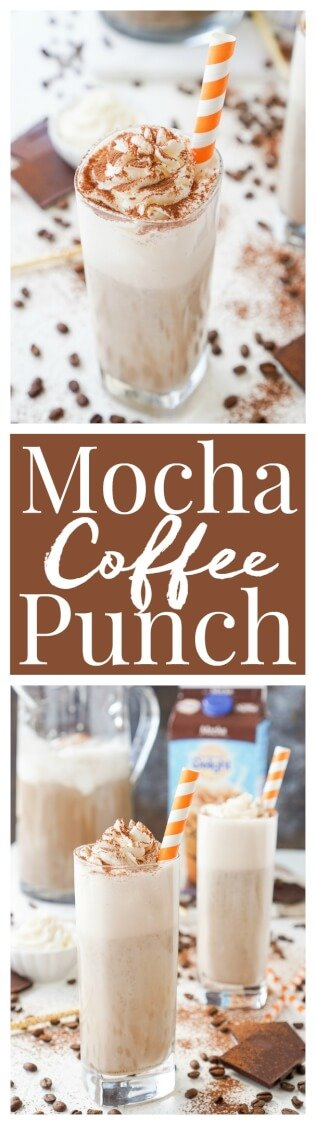 This Mocha Coffee Punch is bound to be a new party favorite by hosts and guests alike! It's easy to make and tastes amazingly creamy and delicious! Made with mocha iced coffee, sugar, milk, and vanilla ice cream, you'll love the fresh new take on the traditional party punch! via @sugarandsoulco