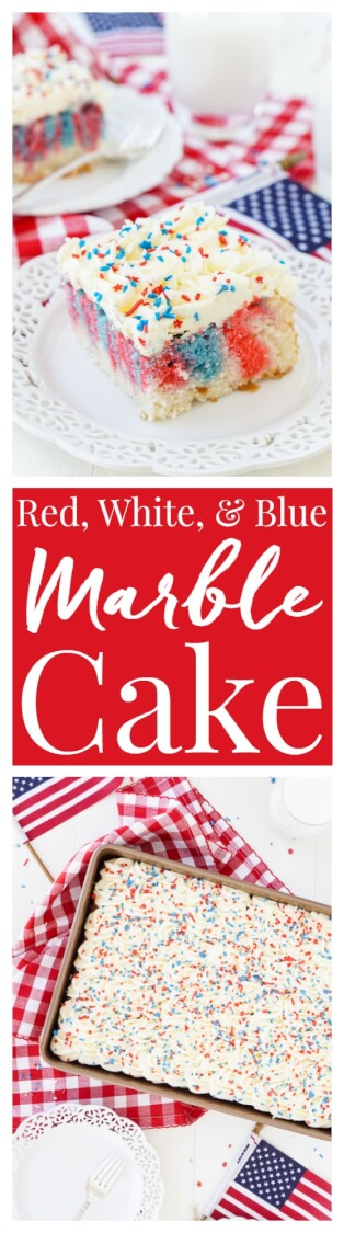 This Red, White, and Blue Marble Sheet Cake is made with an adapted cake box mix and topped with a whipped white chocolate frosting. It's the perfect patriotic dessert for the 4th of July! via @sugarandsoulco