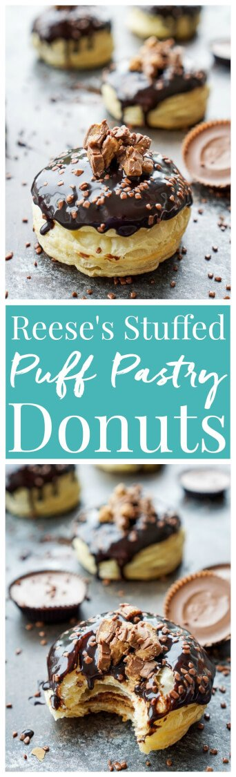 These Reese's Stuffed Puff Pastry Donuts are rich, decadent, and easy to make! Just 6 ingredients stand between you and chocolate/peanut butter bliss! via @sugarandsoulco