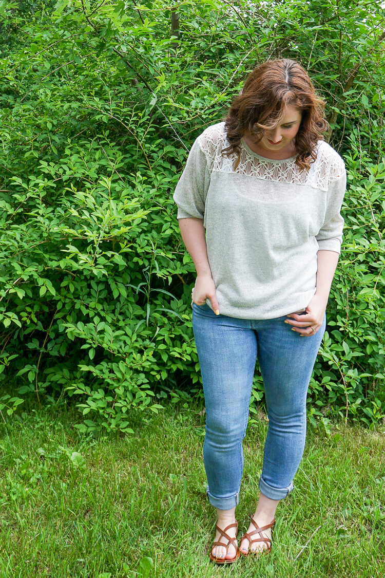 Stitch Fix June 2016 Review : Loveappella - Olivier Crochet Yoke Knit Top