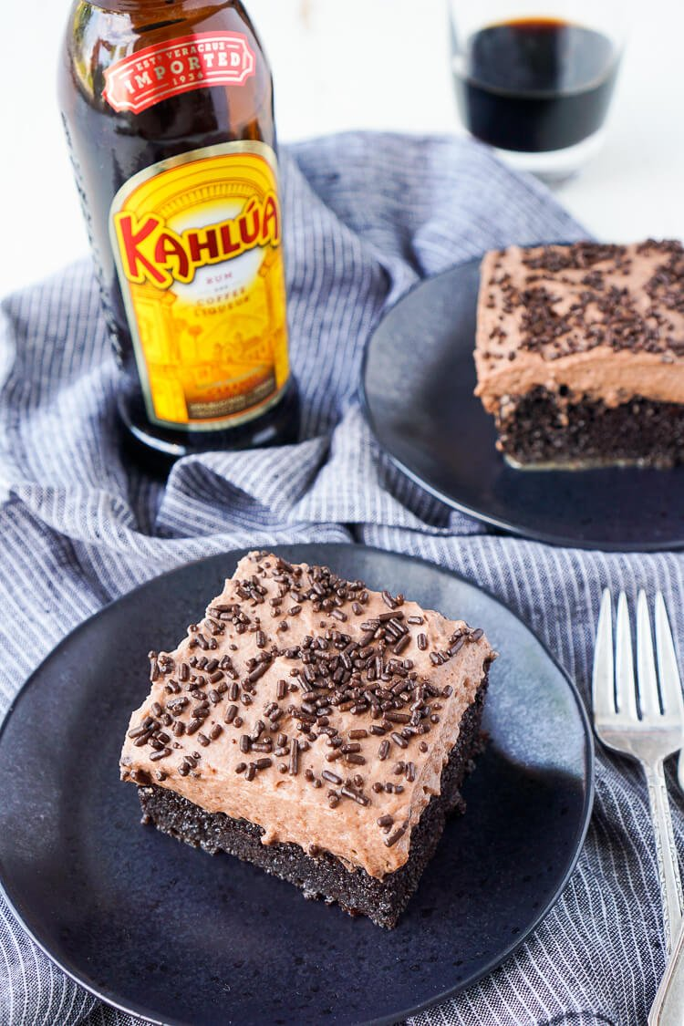 This Kahlua Chocolate Poke Cake is a deliciously boozy dessert!
