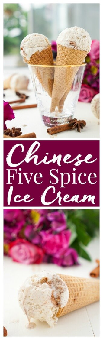 This No Churn Chinese Five Spice Ice Cream is an easy and unique dessert! It's made without an ice cream maker and the traditionally savory spices lend beautifully to the sweet cream for a summer treat your taste buds will love! via @sugarandsoulco