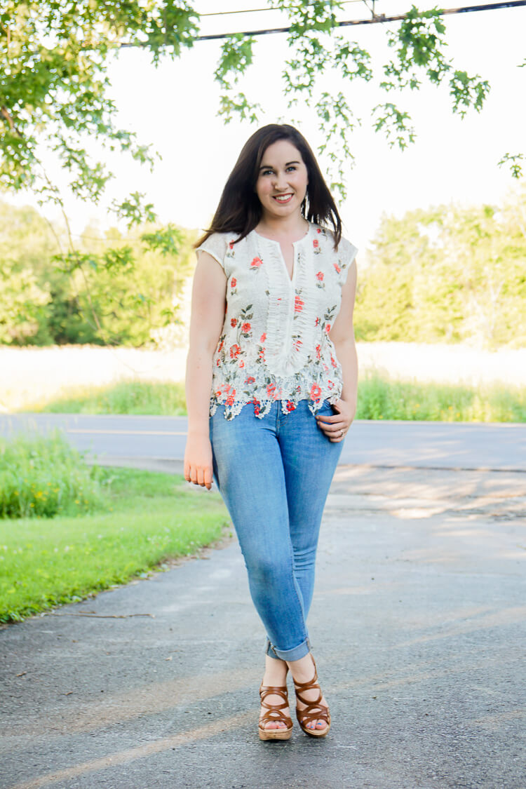 Golden Tote Review July 2016 - Joy & Co Floral Lace Top
