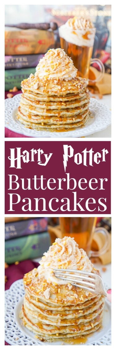 These Harry Potter Butterbeer Pancakes are loaded with caramel, butterscotch, vanilla, and butter flavor and the perfect nerdy start to your day or a great way to kick off The Chosen One's birthday! via @sugarandsoulco