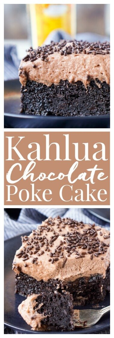 This Kahlua Chocolate Poke Cake is a chocolate cake that's baked in, soaked in, and frosted with Kahlua. It's the ultimate boozy dessert!