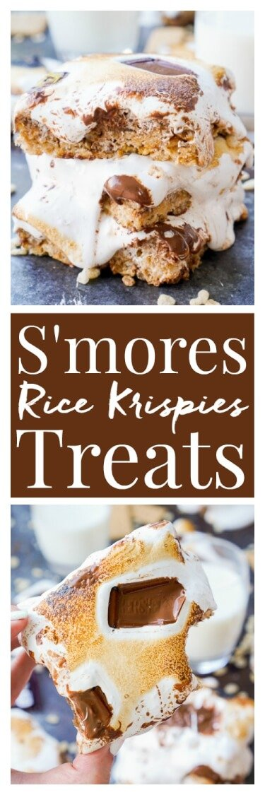 These S'mores Rice Krispies Treats are a fun way to enjoy the toasty summer dessert indoors or outdoors and all year long! via @sugarandsoulco
