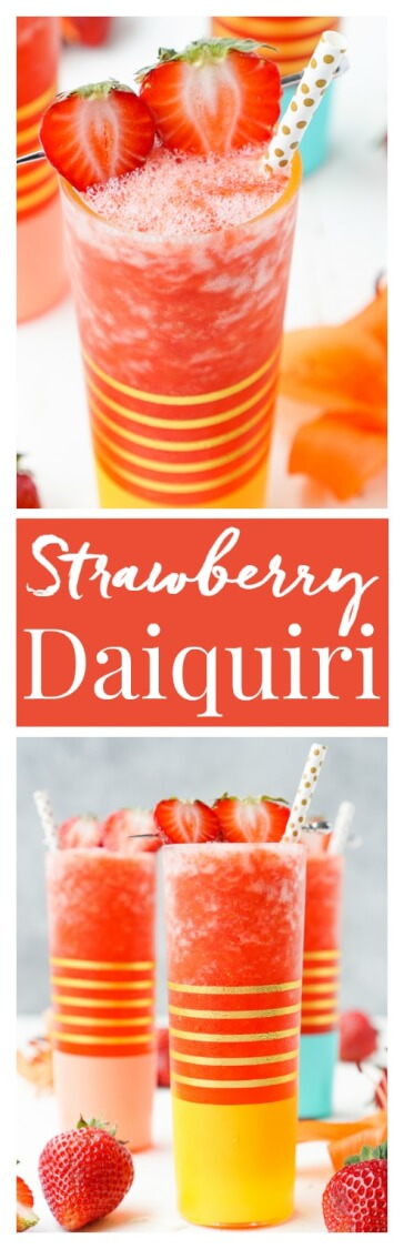 This really is the Best Strawberry Daiquiri recipe out there! It's a slushy blend of fresh strawberries, citrus, ice, and rum!