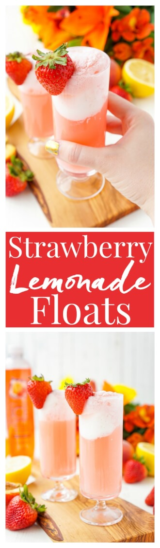 These Strawberry Lemonade Floats are an instant summer classic! Sweet and tart swirl together for an easy and delicious warm weather treat! via @sugarandsoulco