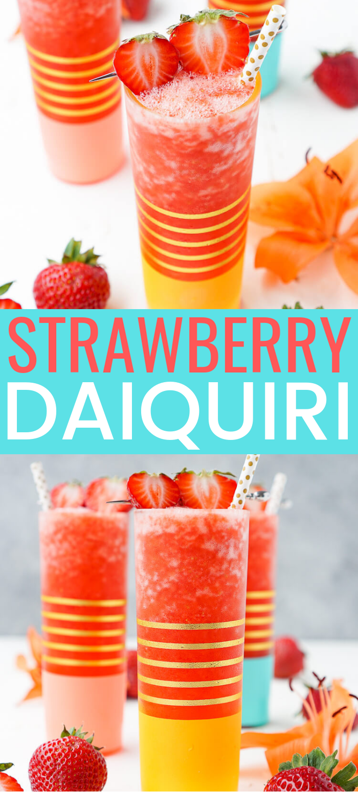 This really is the Best Strawberry Daiquiri recipe out there! It's a slushy blend of fresh strawberries, citrus, ice, and rum - it's easy to make and it will only take a couple of these frozen cocktails to have you feeling lively! via @sugarandsoulco