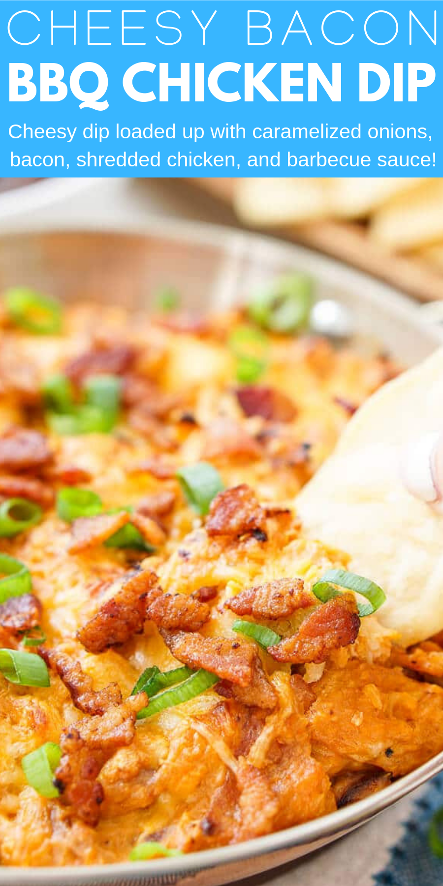 This Cheesy Bacon BBQ Chicken Dip will be the winning dish at your next game day party! Cheesy goodness loaded up with caramelized onions, crunchy bacon, shredded chicken, and tangy barbecue sauce! Only 10 minutes of prep!