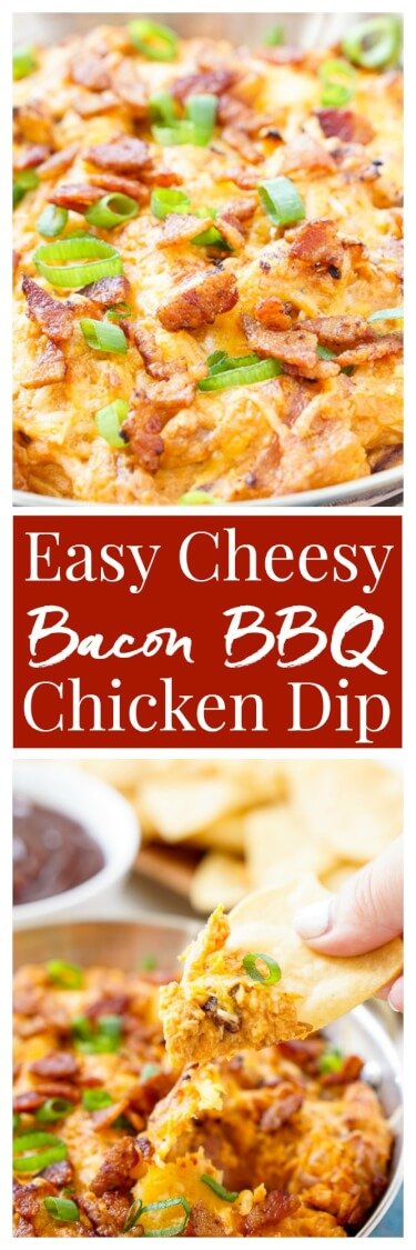 This Cheesy Bacon BBQ Chicken Dip will be the winning dish at your next game day party! Cheesy goodness loaded up with caramelized onions, crunchy bacon, shredded chicken, and tangy barbecue sauce! Only 10 minutes of prep! via @sugarandsoulco