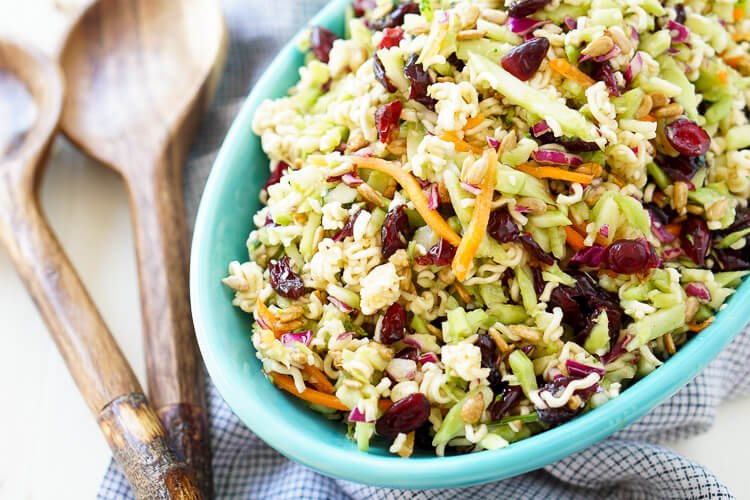 This Crunchy Ramen Noodle Salad is a light and delicious addition to your summer gatherings. No cooking required and it's ready in just 10 minutes!