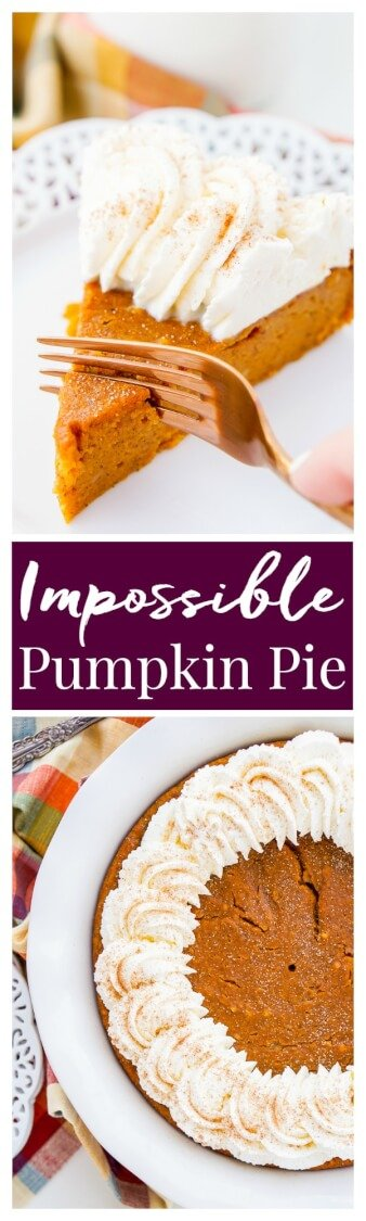 This Impossible Pumpkin Pie Recipe is actually the easiest pumpkin pie you'll ever make! As it bakes, it forms a light crust on its own and leaves behind a dense, but creamy pumpkin filling. Top it with whipped cream and it's the perfect fall dessert! via @sugarandsoulco