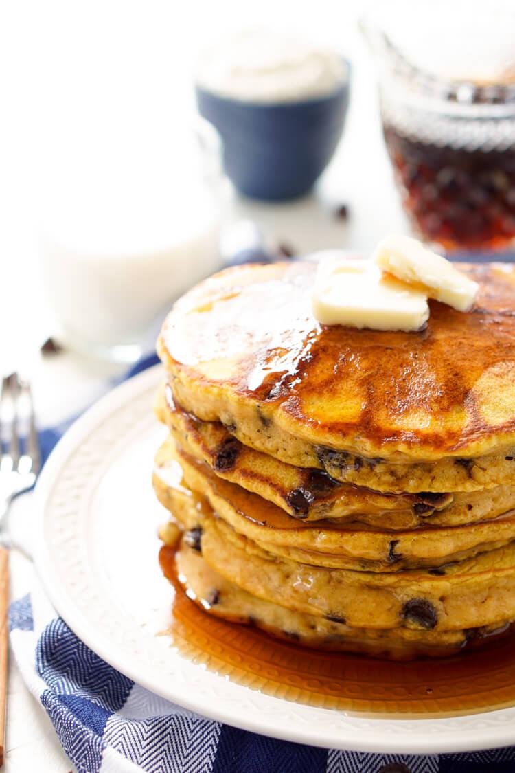 Pumpkin Chocolate Chip Pancakes - Sugar & Soul