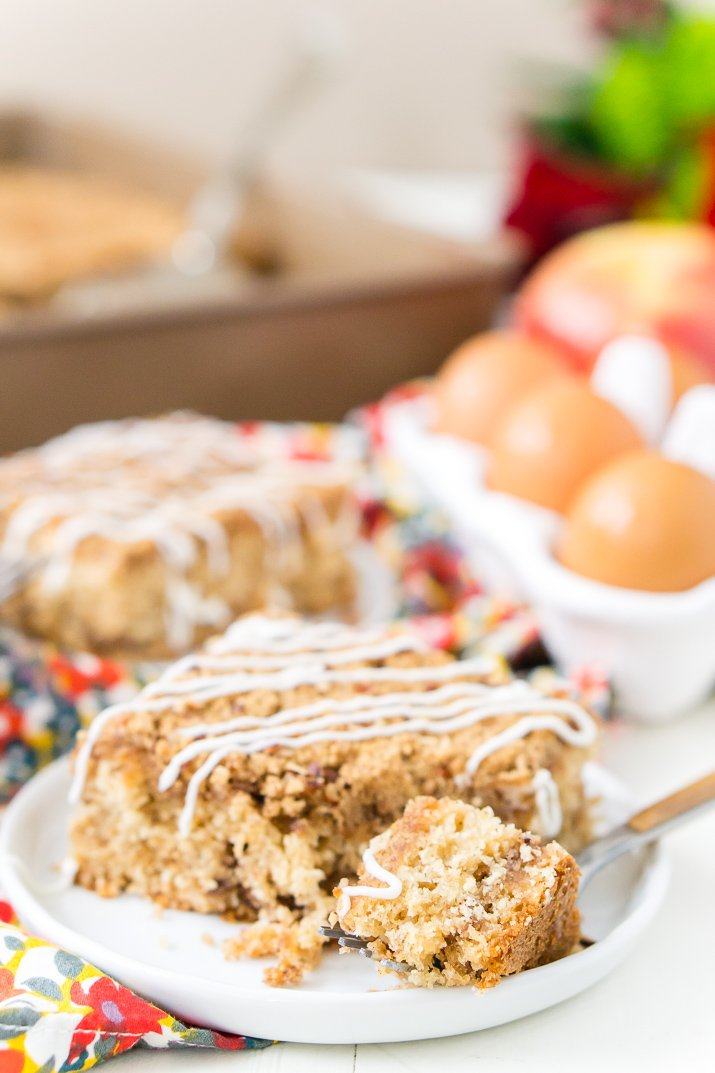 This Old Fashioned Apple Cake is made with warm spices, oatmeal, and apple jelly for a simple and delicious fall dessert!