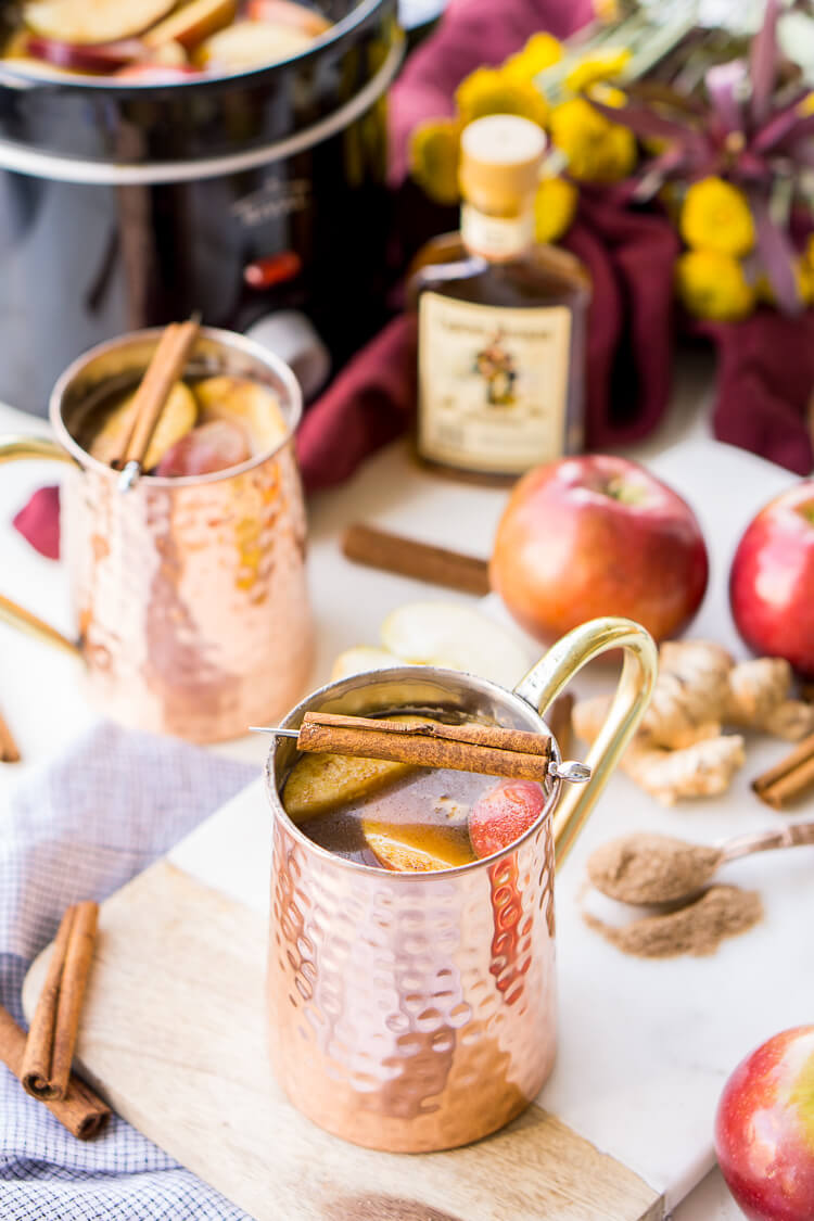 This Crock Pot Ginger Rum Apple Cider will make entertaining a breeze this holiday season! Keep the rum on the side for a boozy and non-alcoholic option!