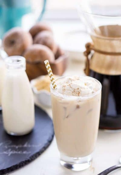 This Iced Coffee Bar is a must have at any get-together! Mix up the four homemade coffee creamer recipes so your guests can really indulge in their cup of joe!