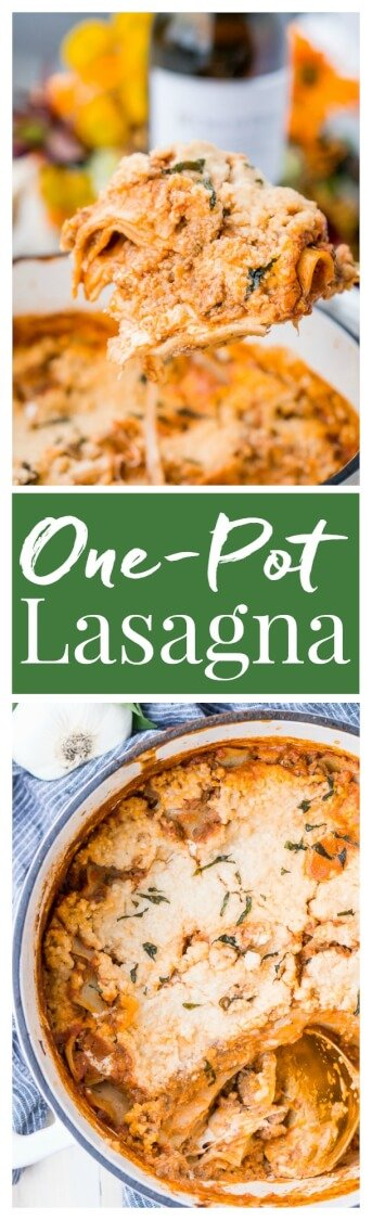 This Easy One Pot Lasagna is a cozy and comforting dish you can make in your dutch oven in under an hour. A delicious meat sauce, oven-ready pasta, and three different kinds of cheese with a hint of basil and red pepper flakes make this a dish you'll want to make again and again! via @sugarandsoulco