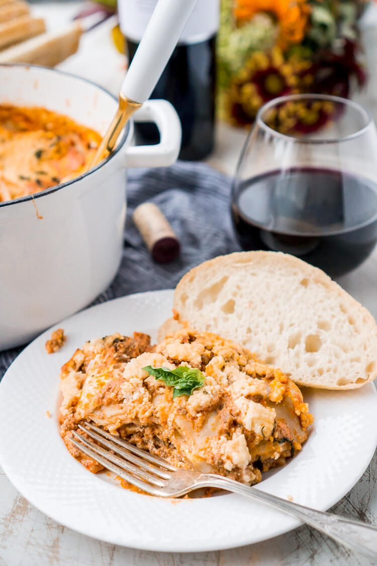 This Easy One Pot Lasagna is a cozy and comforting dish you can make in your Dutch oven in under an hour. A delicious meat sauce, oven-ready pasta, and three different kinds of cheese with a hint of basil and red pepper flakes make this a dish you'll want to make again and again!