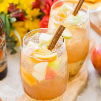 This Hard Apple Cider Sangria brings together the cozy flavors of fall in a crisp and refreshing batch cocktail!